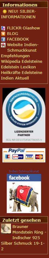 Informationsbereich auf der linken Seite des Indien-Schmuckkunst Online Shops